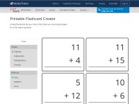 http://www.aplusmath.com/Flashcards/Flashcard_Creator.html