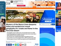 http://www.dailymail.co.uk/sciencetech/article-2715588/Mystery-Nazca-Lines-deepens-Gales-sandstorms-reveal-geoglyphs-snake-llama-Peruvian-desert.html